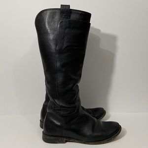 Frye Paige Black Tall Leather Riding Boots